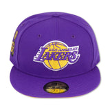 "LOS ANGELES LAKERS ""16X CHAMPS"" NEW ERA 59FIFTY FITTED (YELLOW BOTTOM)"