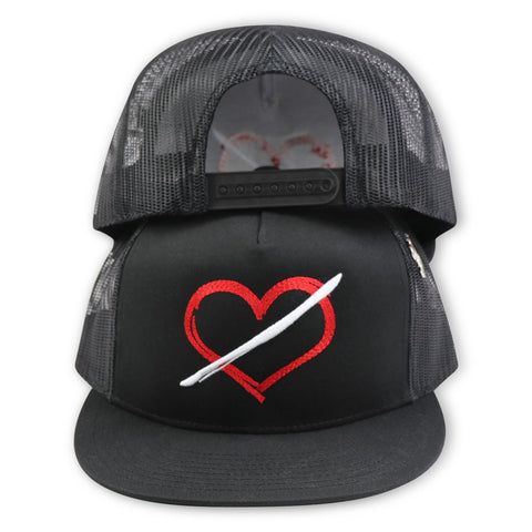 NOIRPARIS  NO LOVE TRUCKER MESH SNAPBACK WITH PIN