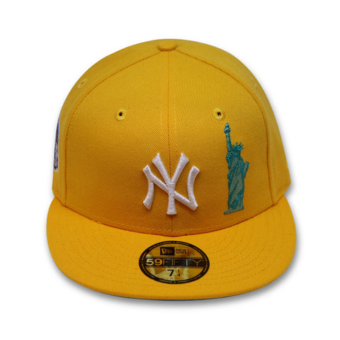 "NEW YORK YANKEES YELLOW (TAXI) NEW ERA 59FIFTY FITTED  ""LIBERTY LOGO"" (SKY BLUE BOTTOM)"