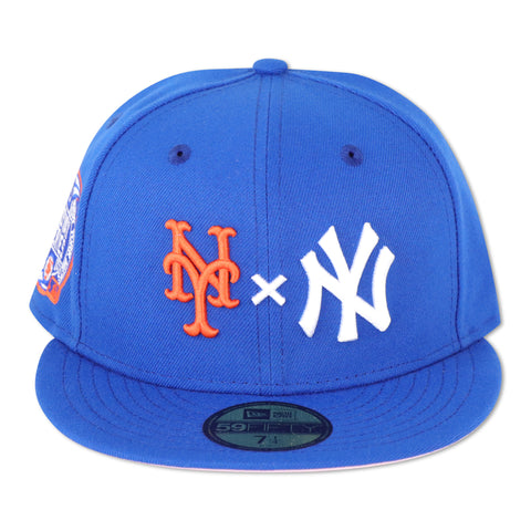 "METS X YANKEES (ROYAL) ""2000 SUBWAYSERIES"" NEW ERA 59FIFTY FITTED (PINK BOTTOM)"