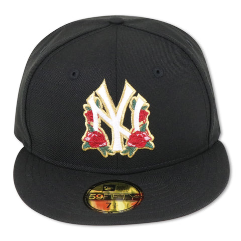 "NEW YORK YANKEES (BLACK) ""ROSE-LOGO"" NEW ERA 59FIFTY FITTED (PINK BOTTOM)"