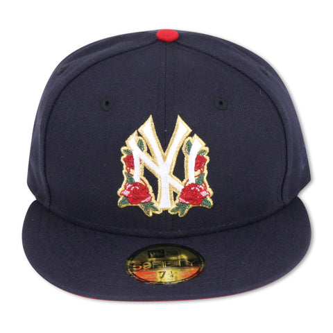 "NEW YORK YANKEES (NAVY) ""ROSE-LOGO"" NEW ERA 59FIFTY FITTED (RED BOTTOM)"