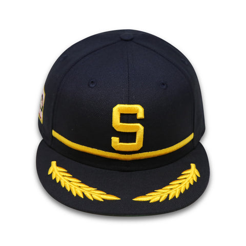"SEATTLE PILOTS ""BLACK/GOLD"" NEW ERA 59FIFTY FITTED (GREEN BOTTOM)"