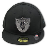 OAKLAND RAIDERS (SILVER METALLIC LOGO) NEW ERA 59FIFTY FITTED