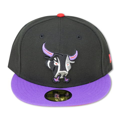 SAN ANTONIO RAMPAGE (BLACK/PURPLE) NEW ERA 59FIFTY FITTED (RED BOTTOM)  (AIR JORDAN 4 RETR0 RAPTORS)