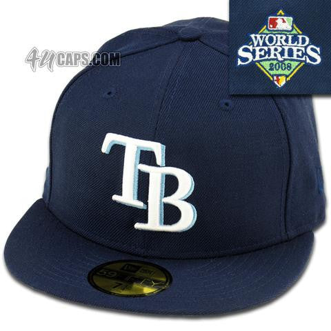 TAMPA BAY RAYS 2008 WORLD SERIES NEW ERA 59FIFTY FITTED (GREY BRIM) –  4ucaps.com c0e27471ee6
