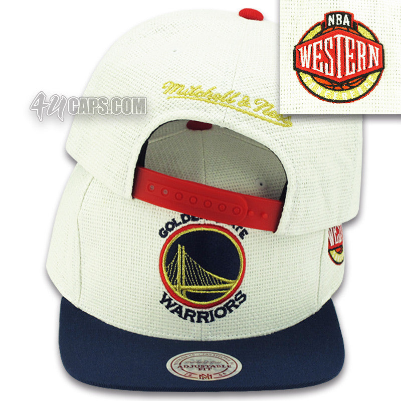 3e1179a34d466 GOLDEN STATE WARRIORS STRAW SNAPBACK BY MITCHELL   NESS (OLYMPIC COLOR –  4ucaps.com