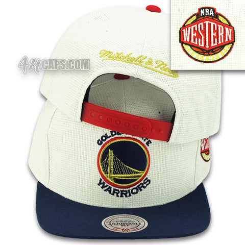 GOLDEN STATE WARRIORS STRAW SNAPBACK BY MITCHELL & NESS (OLYMPIC COLORS)  (204AZ)