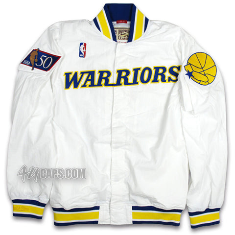 GOLDEN STATE WARRIORS NBA 50TH ANNIVERSARY WARM UP JACKET BY MITCHELL & NESS