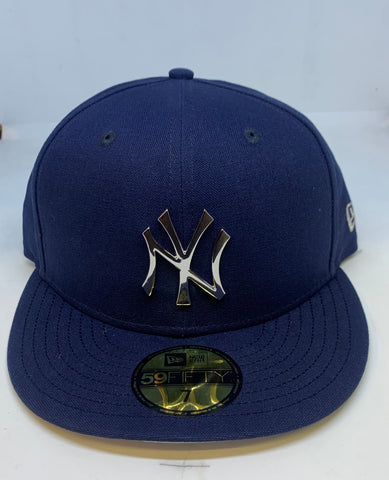 "NEW YORK YANKEES NAVY ""SILVER METALLIC LOGO"" NEW ERA 59FIFTY FITTED"