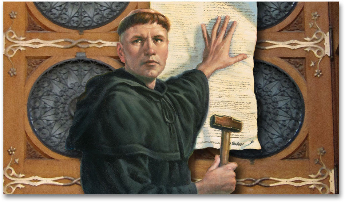 Luther Nailing 95 Theses to Door