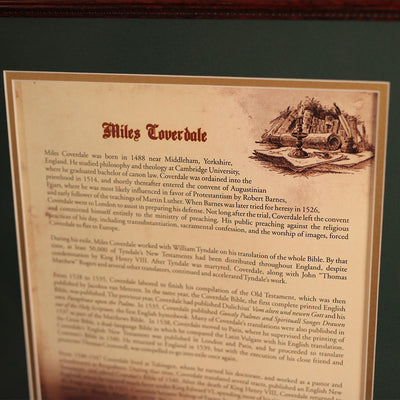 Myles (Miles) Coverdale Bible 20 x 24 Wall Display