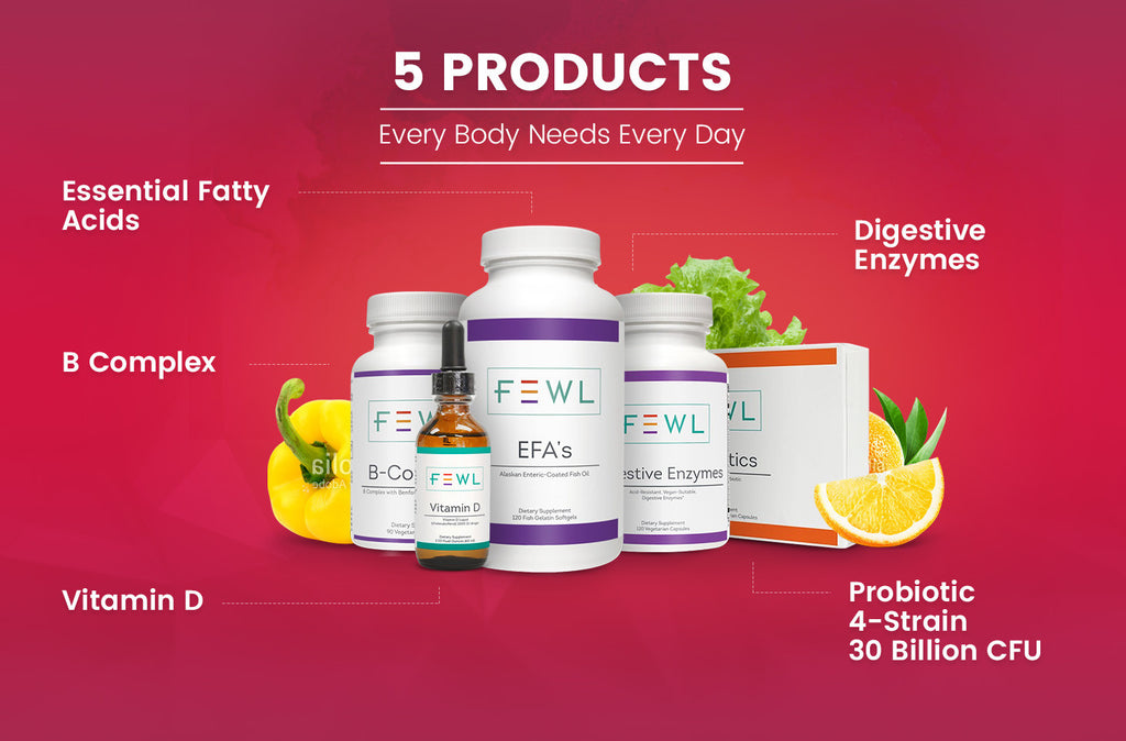 A proprietary blend of enzymes, B vitamins, probiotics, Vitamin D and Essential Fatty Acids to ensure your daily health
