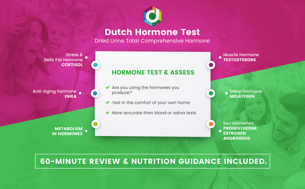 DUTCH hormone test for testosterone, estrogen, stress hormones and others for belly fat and cravings