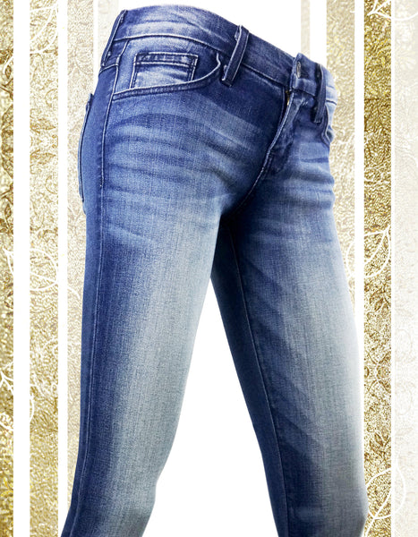Blue-Washed Cuffed Jeans