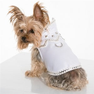 Doghouse Rock White Satin Vest Harness by Hollywood Poochie