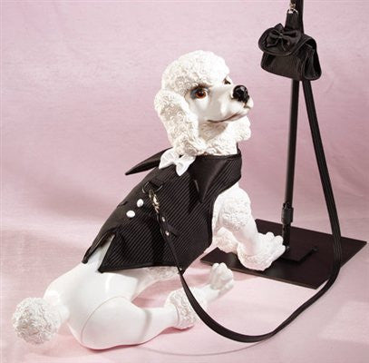 The Dogfather Pinstripe Vest Harness with Satin Bow Tie - ZoeDoggy of Beverly Hills
