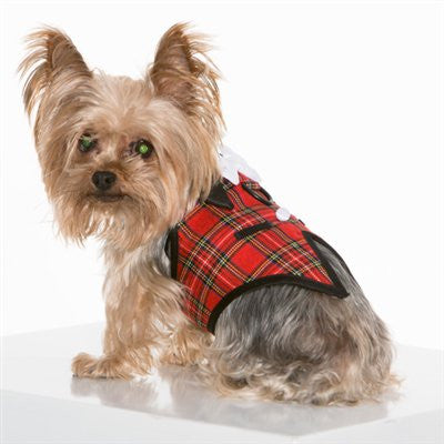 Furever Plaid Vest Harness with Satin Bow Tie - ZoeDoggy of Beverly Hills