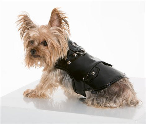 Patent Leather and Skull Studded Vest Harness - ZoeDoggy of Beverly Hills