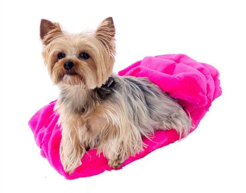 Hot Pink Roses Plush Cozy Sak Dog Bed by Dog Squad - ZoeDoggy of Beverly Hills