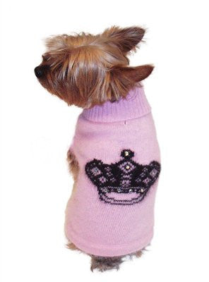 Mimi Crown Angora Blend Dog Turtleneck, Pink with Black Crown Intarsia by Dog Squad - ZoeDoggy of Beverly Hills