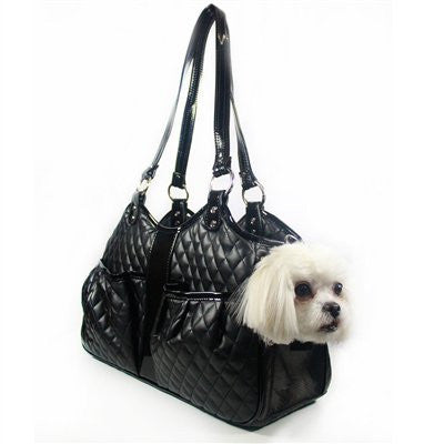 Black Quilted Luxe Metro Classic Doggy Handbag by Petote - ZoeDoggy of Beverly Hills