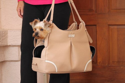 """Madison"" Mia Michele Mocha Faux Pebble Leather Carry Bag Doggie Handbag - ZoeDoggy of Beverly Hills"