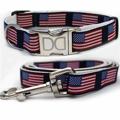 Diva-Dog Stars n Stripes Collection - All Metal Buckles Dog Leash and Collar - ZoeDoggy of Beverly Hills