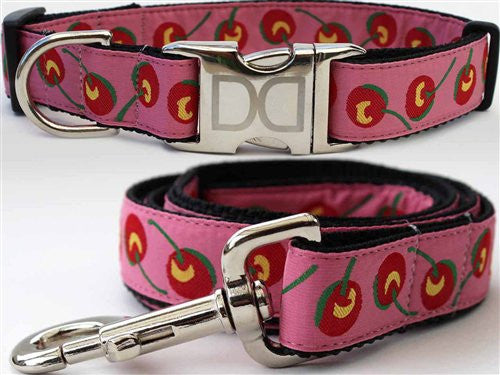 Diva-Dog Cherries Collection - All Metal Buckles Dog Collar and Leash - ZoeDoggy of Beverly Hills