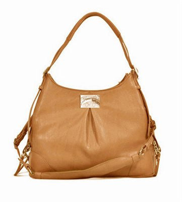 """Zoie"" Mia Michele Caramel Macchiato Faux Pebble Leather Carry Bag Doggie Handbag - ZoeDoggy of Beverly Hills"