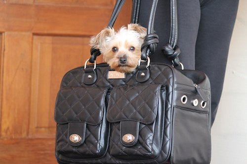 """Allie"" Mia Michele Black Quilted Carry Bag Doggie Handbag - ZoeDoggy of Beverly Hills"