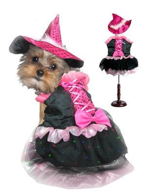 Pink Bow Witch Dog Costume with LED