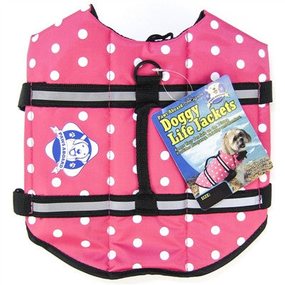 Paws Aboard Designer Doggy Life Jacket - Pink Polka Dot - ZoeDoggy of Beverly Hills