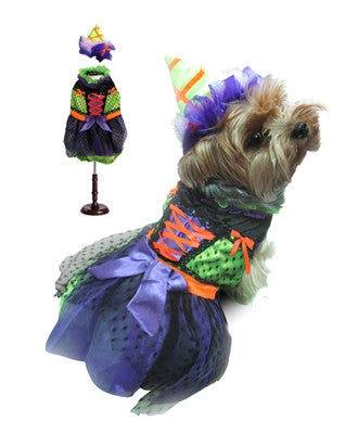 Halloween Neon Witch Dog Costume