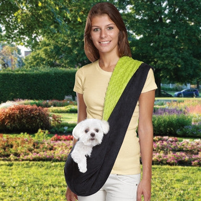 Black/Pink or Black/Green Reversible Sling Dog Carrier | Pets up to 8 lbs - ZoeDoggy of Beverly Hills