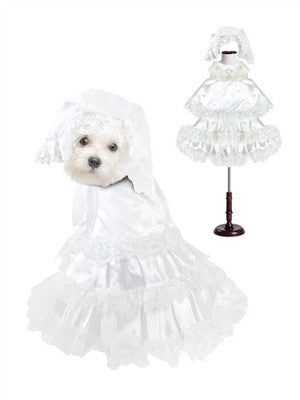 Wedding Dog Costume with Veil