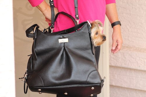 """Sadie"" Michele Mia Black Faux Pebble Leather Doggie Handbag - ZoeDoggy of Beverly Hills"