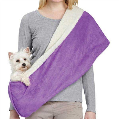 Reversible Sherpa Sling Pet Carrier | For dogs up to 8 lbs | Raspberry or Violet - ZoeDoggy of Beverly Hills