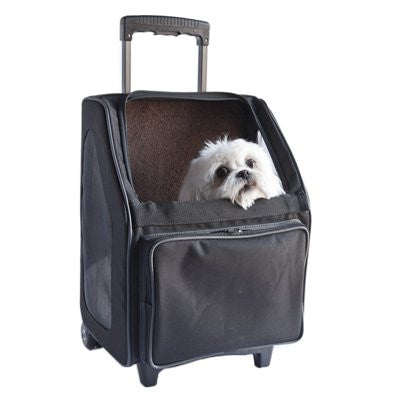 Black Rio Rolling Dog Carrier by Petote - ZoeDoggy of Beverly Hills