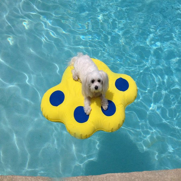 Small Lazy Dog Pool Raft - Blue/Yellow - ZoeDoggy of Beverly Hills