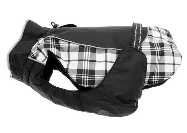 Alpine All Weather Dog Coat - Black and White Plaid - ZoeDoggy of Beverly Hills