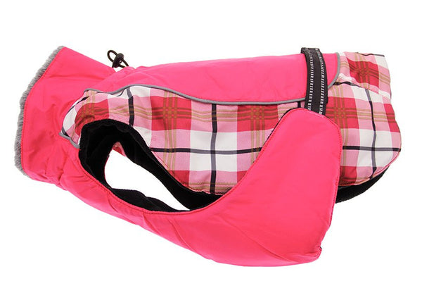 Alpine All Weather Dog Coat - Raspberry Plaid - ZoeDoggy of Beverly Hills