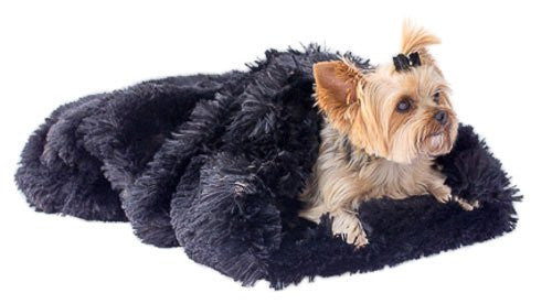 Black Powder Puff Plush Cozy Sak Dog Bed - ZoeDoggy of Beverly Hills