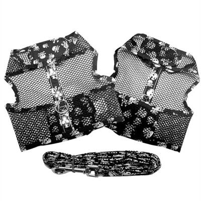 Black and White Skull Cool Mesh Dog Harness and Leash - ZoeDoggy of Beverly Hills