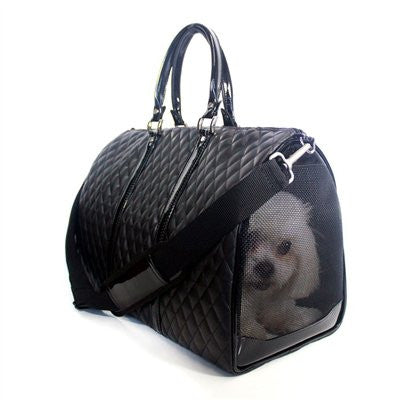 Black Quilted Luxe JL Duffel Tote Doggy Handbag by Petote - ZoeDoggy of Beverly Hills