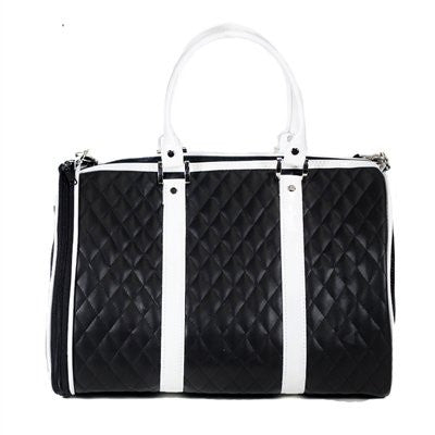 Black & White Quilted Luxe JL Duffel Tote Doggy Handbag by Petote - ZoeDoggy of Beverly Hills