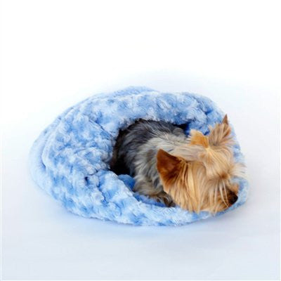 Blue Paisley Plush Cozy Sak Dog Bed - ZoeDoggy of Beverly Hills