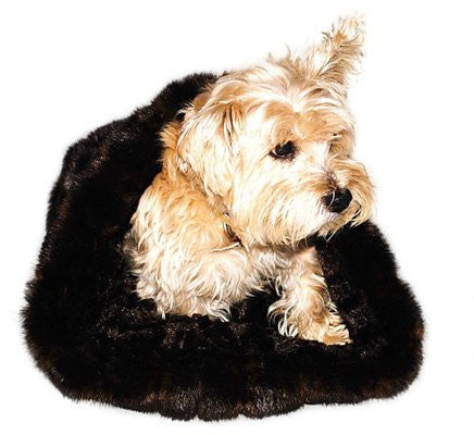 Brown Mink Plush Cozy Sak Dog Bed - ZoeDoggy of Beverly Hills