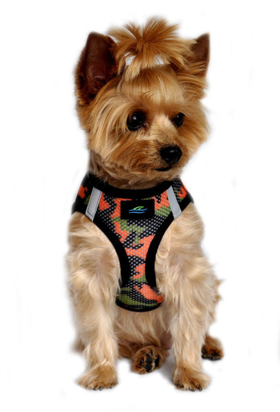 "American River Camouflage ""Print On Mesh"" Harnesses  Choke Free - Orange Camo - ZoeDoggy of Beverly Hills"