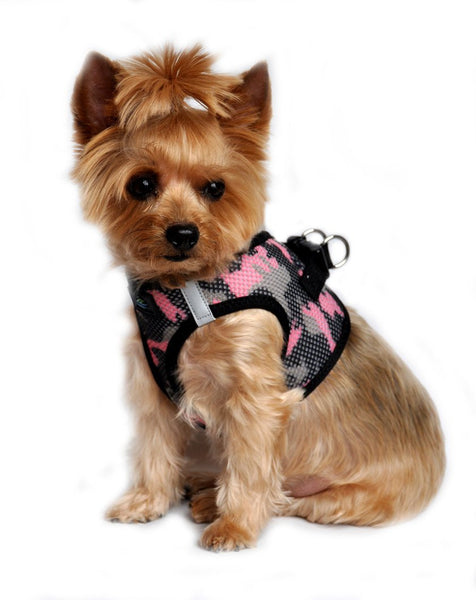 "American River Camouflage ""Print On Mesh"" Harnesses  Choke Free - Pink Camo - ZoeDoggy of Beverly Hills"